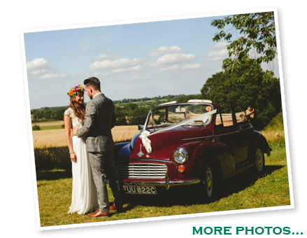Hannah and Dale with our Morris Minor convertible - click for more photos