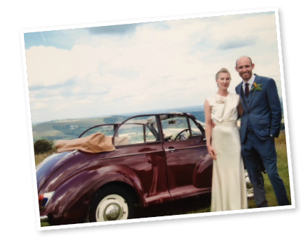 Hannah and Joe with our Morris Minor convertible