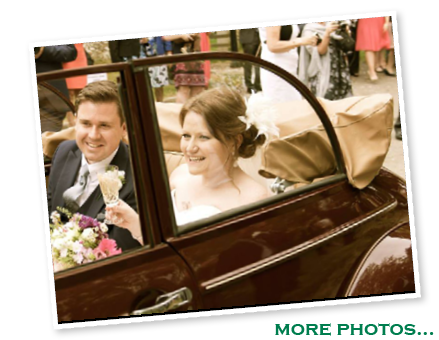 Holly and Ben with our Morris Minor convertible