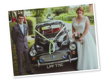Kerry and David with our Morris Minor Traveller