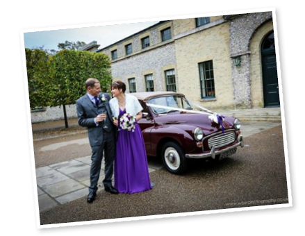 Wendy and Richard with our Morris Minor convertible
