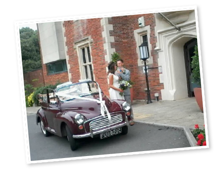 Sara and Laurence with our Morris Minor convertible