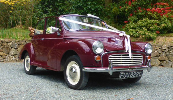 Morris Minor convertible wedding car in Sussex and Kent